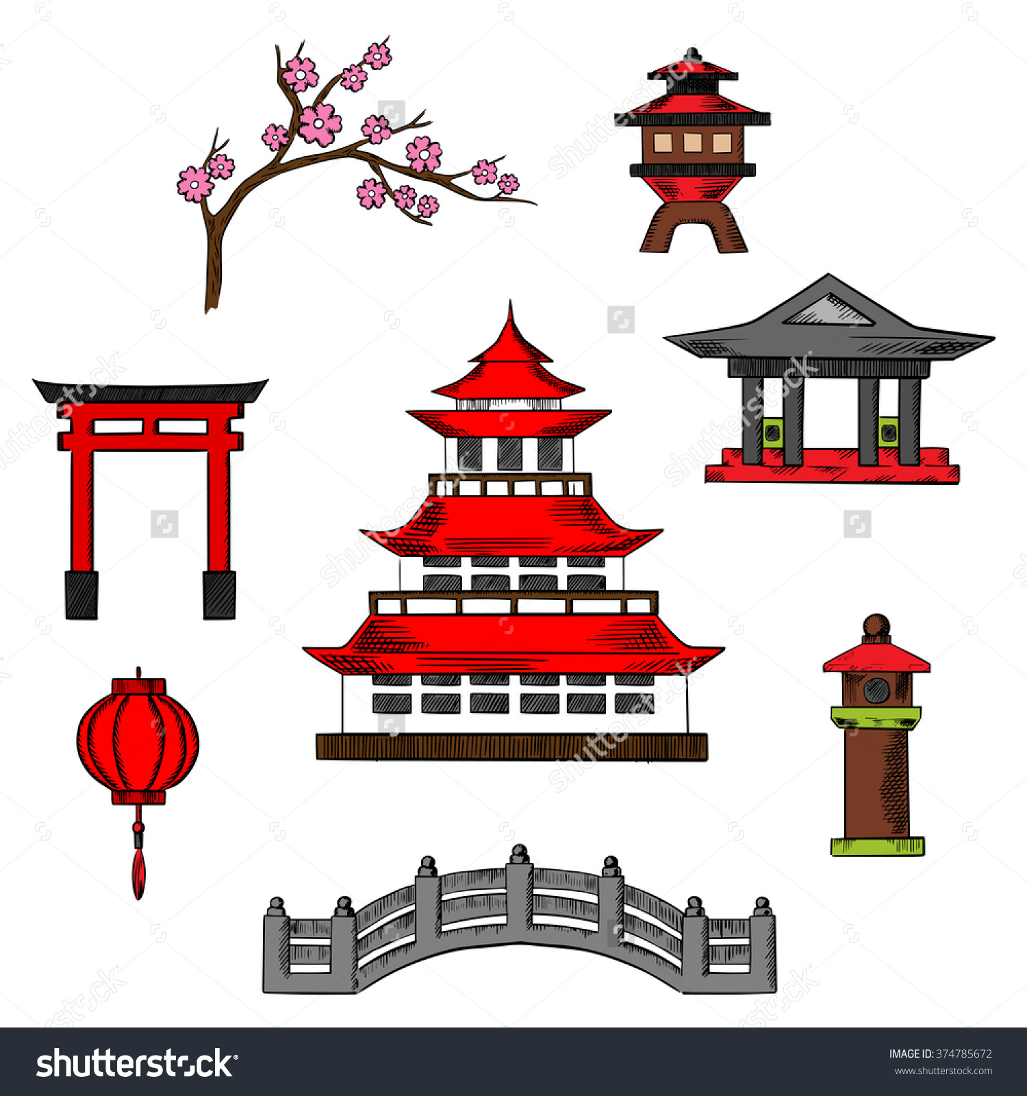 Japan Travel Culture Icons Traditional Japanese Stock Vector.