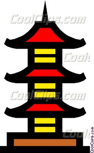 red pagoda clipart #7