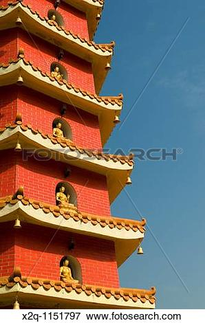 Picture of Red pagoda at the ten thousand buddhas monastery Sha.