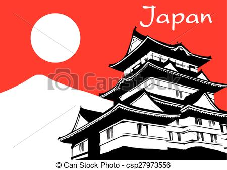 Vector Clip Art of Japanese pagoda sakura flower painting on red.
