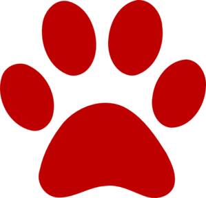 Red Paw Print clip art.