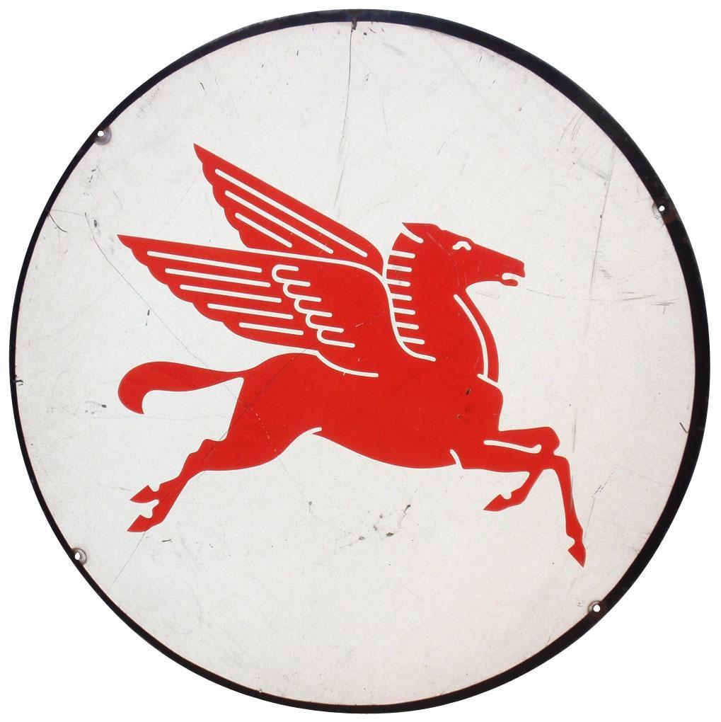 Mobil Pegasus round metal sign, red & white.