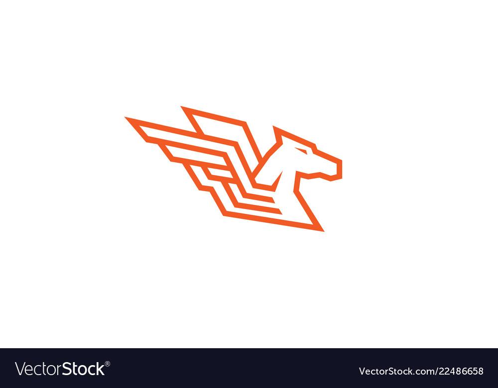 Horse red pegasus logo.