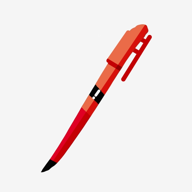 Red Gel Pen Stationery Illustration, Red Gel Pen, Stationery.