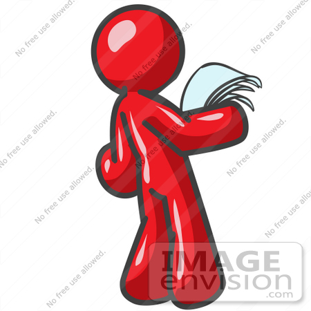 Clip Art Graphic of a Red Guy Character Reading a Letter.