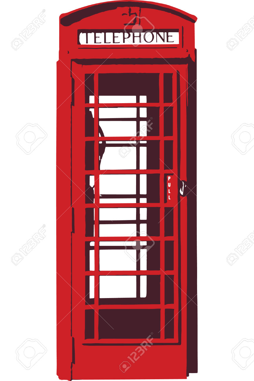 Red telephone box clipart.