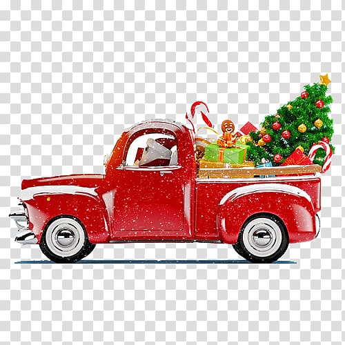 Classic red pickup truck with gifts and christmas tree.