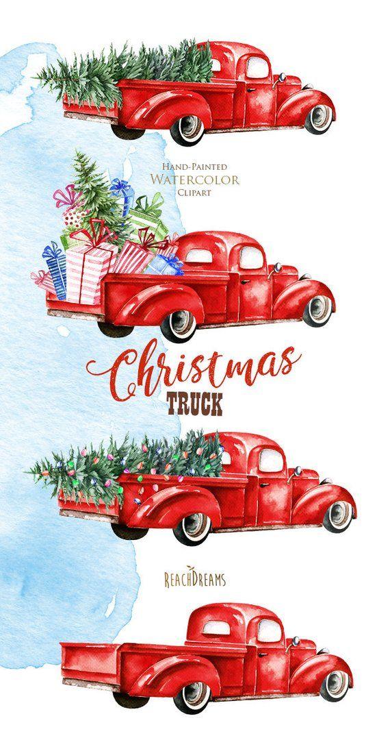 Watercolor Christmas Truck, Vintage Red Pickup, Pine Tree.