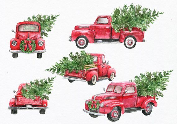 Christmas, Truck, Tree, Vintage, Red, Merry, Watercolor.