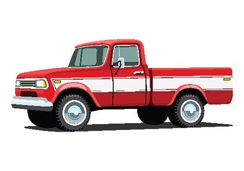 Red pickup truck Clipart Image.