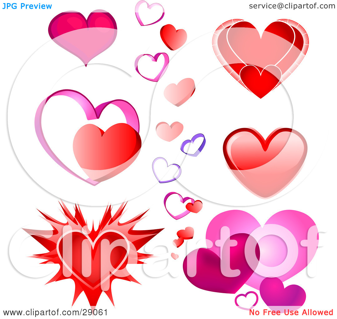 Clipart Illustration of a Set Of Pink, Red And Purple Valentine.