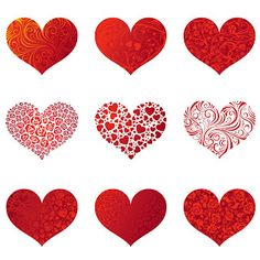 Red Valentine Heart Baloons PNG Clipart Picture.
