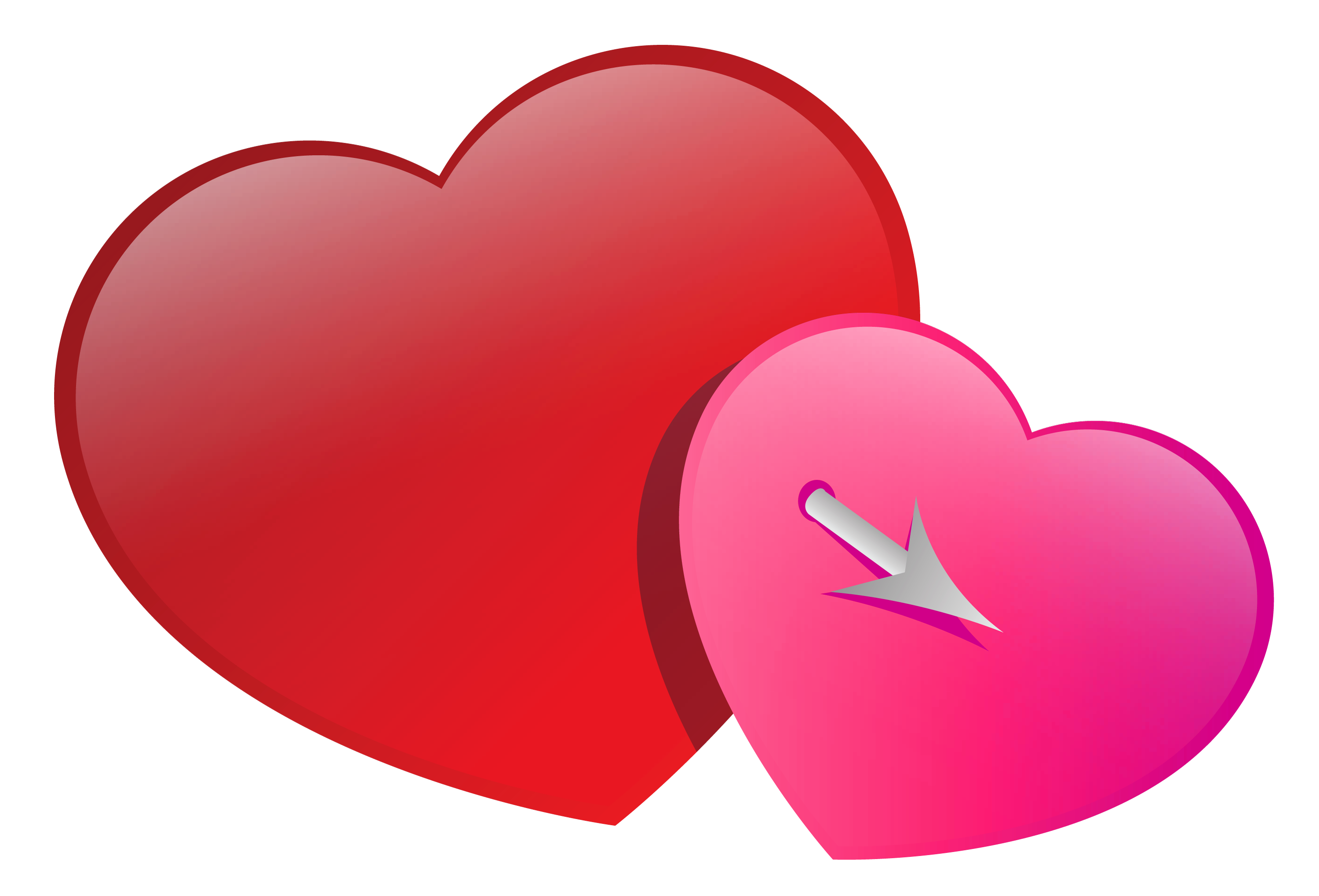 Valentines Pink and Red Hearts PNG Clipart Picture.