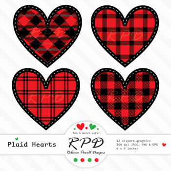 Red & black buffalo plaid tartan check stitched clipart hearts JPEG, PNG &  EPS.