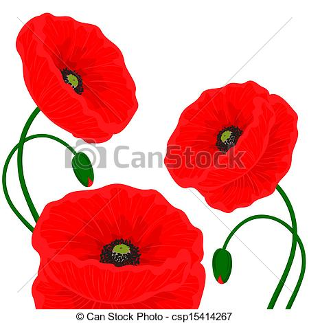 Clip Art Vector of Card with red poppy flowers on a white.