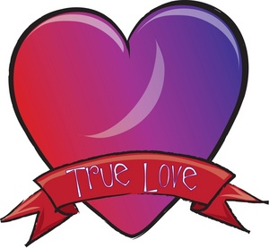 Purple heart and red heart outline clipart.