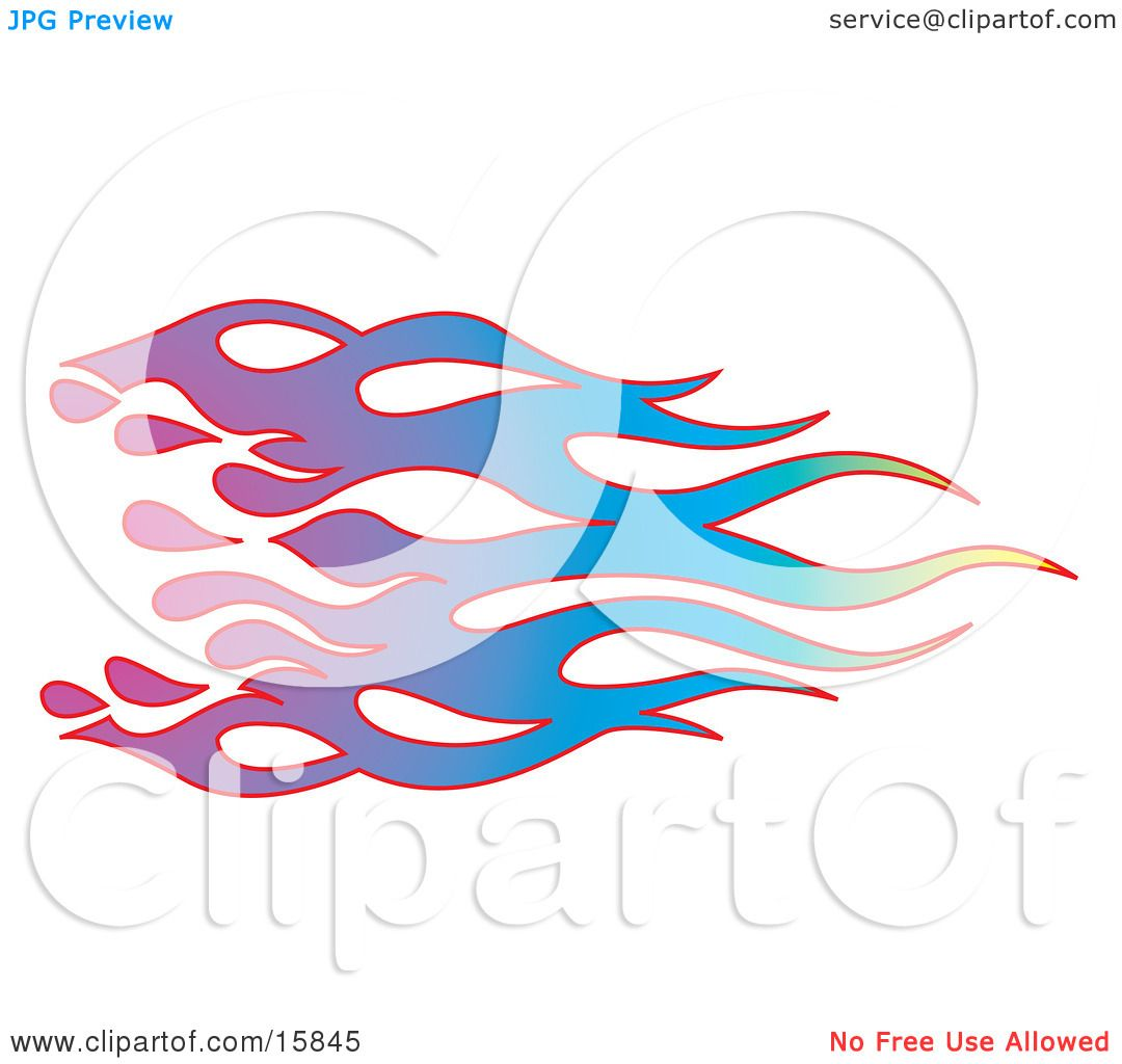Rainbow Colored Flames With Red, Purple, Blue, Green And Yellow.