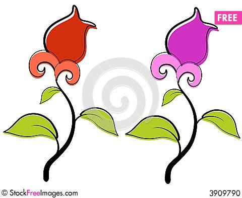 Red And Purple Spring Flowers Clip Art.