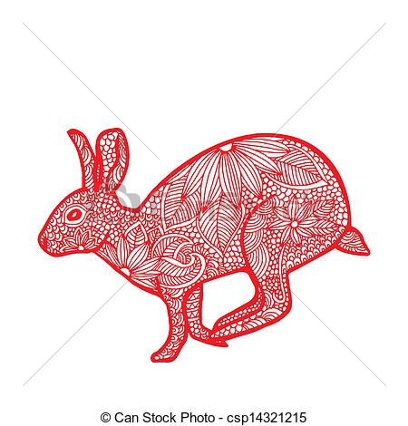 Vector Clip Art of rabbit.