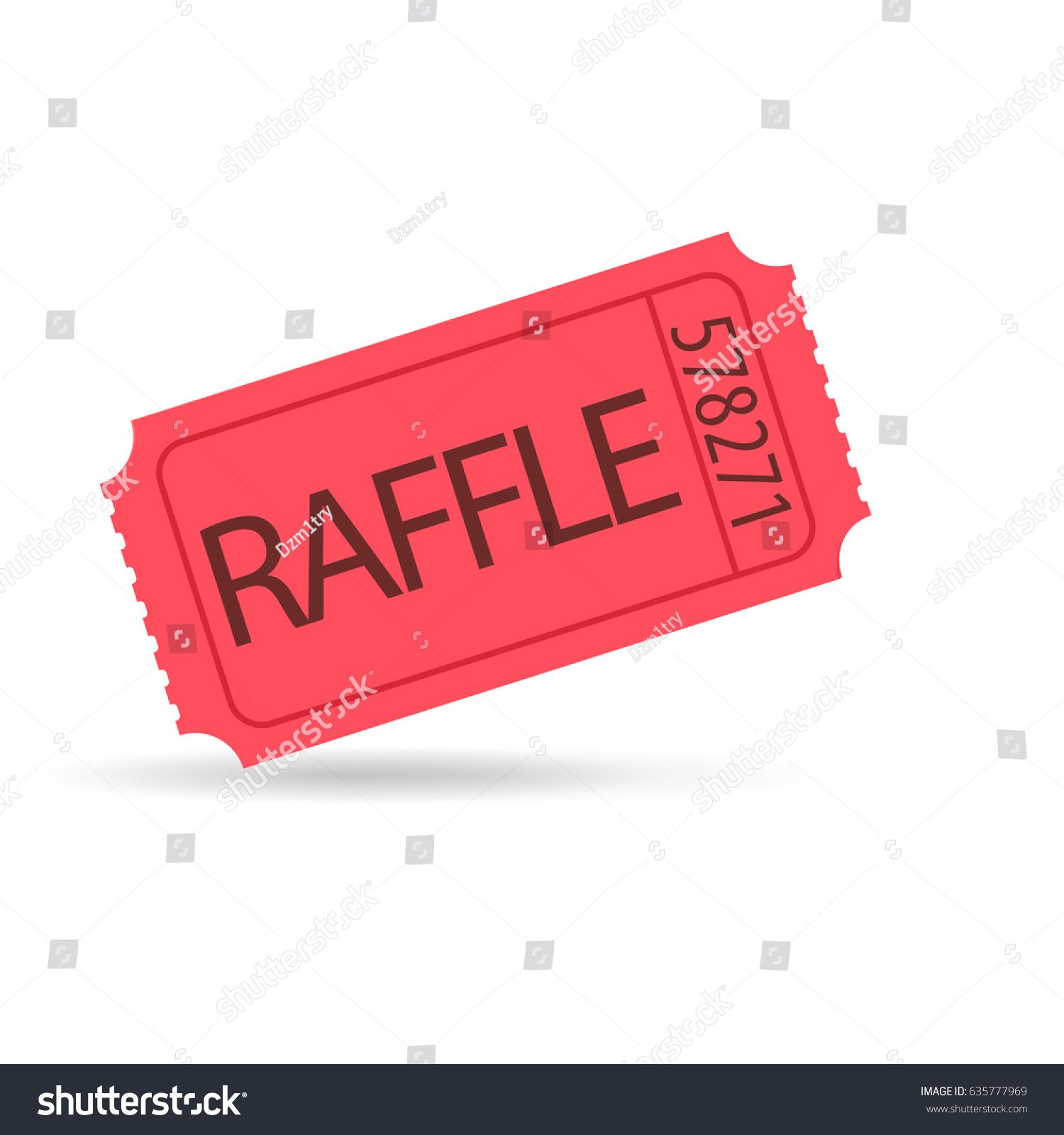 Red raffle ticket icon. Vector image isolated on white.