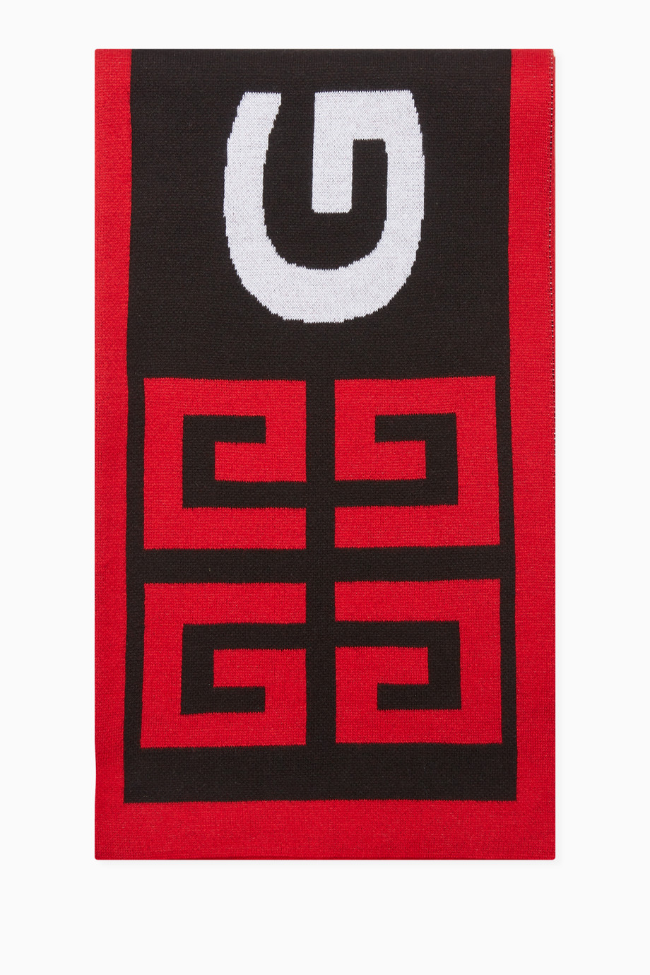 Shop Givenchy Red Knitted Logo Scarf for Women.