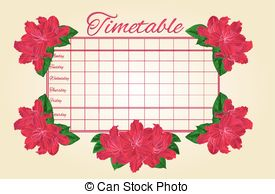Vector Clip Art of Frame with red Rhododendron vector.eps.