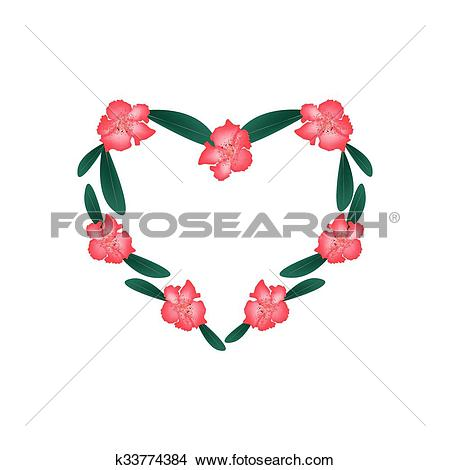Clipart of Red Rhododendron Flowers in A Heart Shape k33774384.