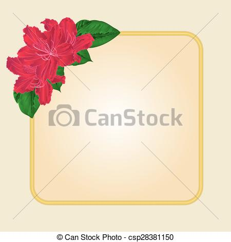 Clipart Vector of Golden frame with red rhododendron vector.eps.