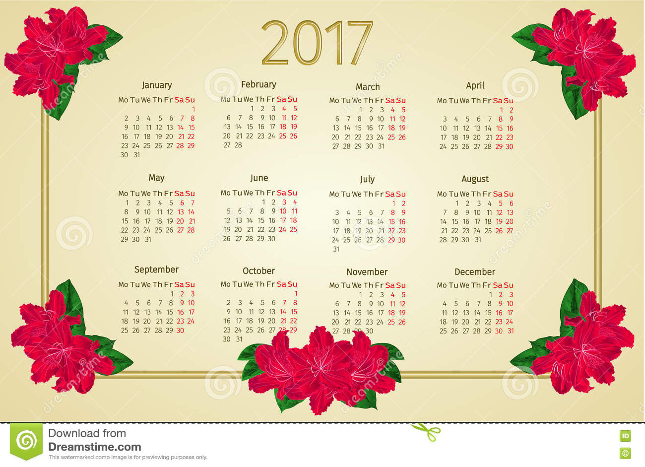 Calendar 2017 With Red Rhododendron Flowers Vintage Vector Stock.
