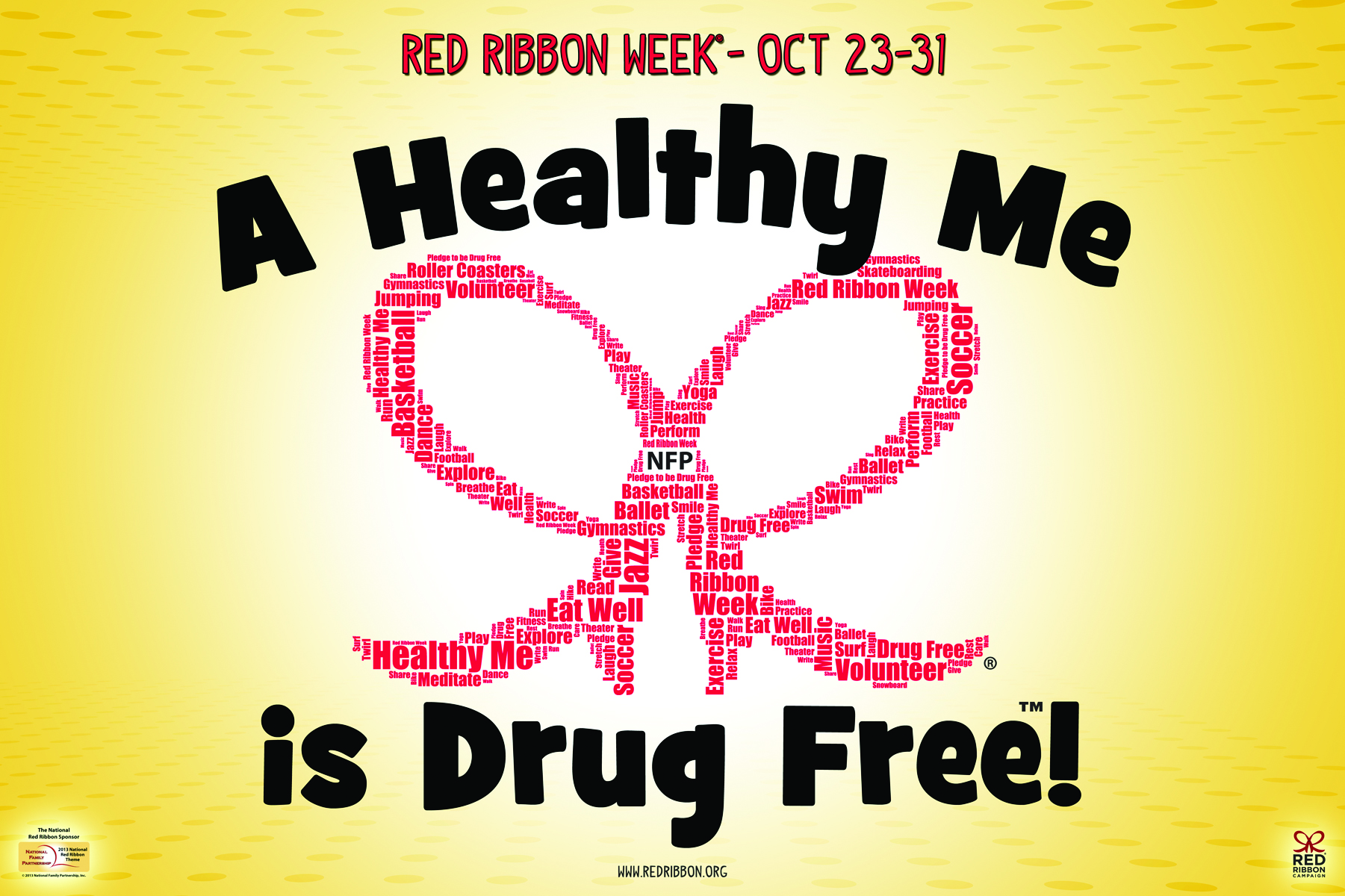 Red Ribbon Clipart Drug Free.