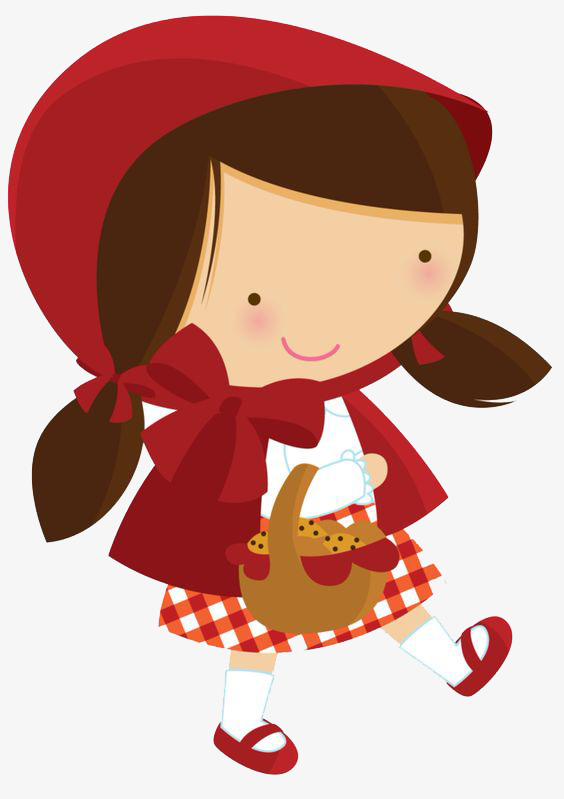 Hand Painted Cartoon Little Red Riding Hood, Cartoon Clipart.