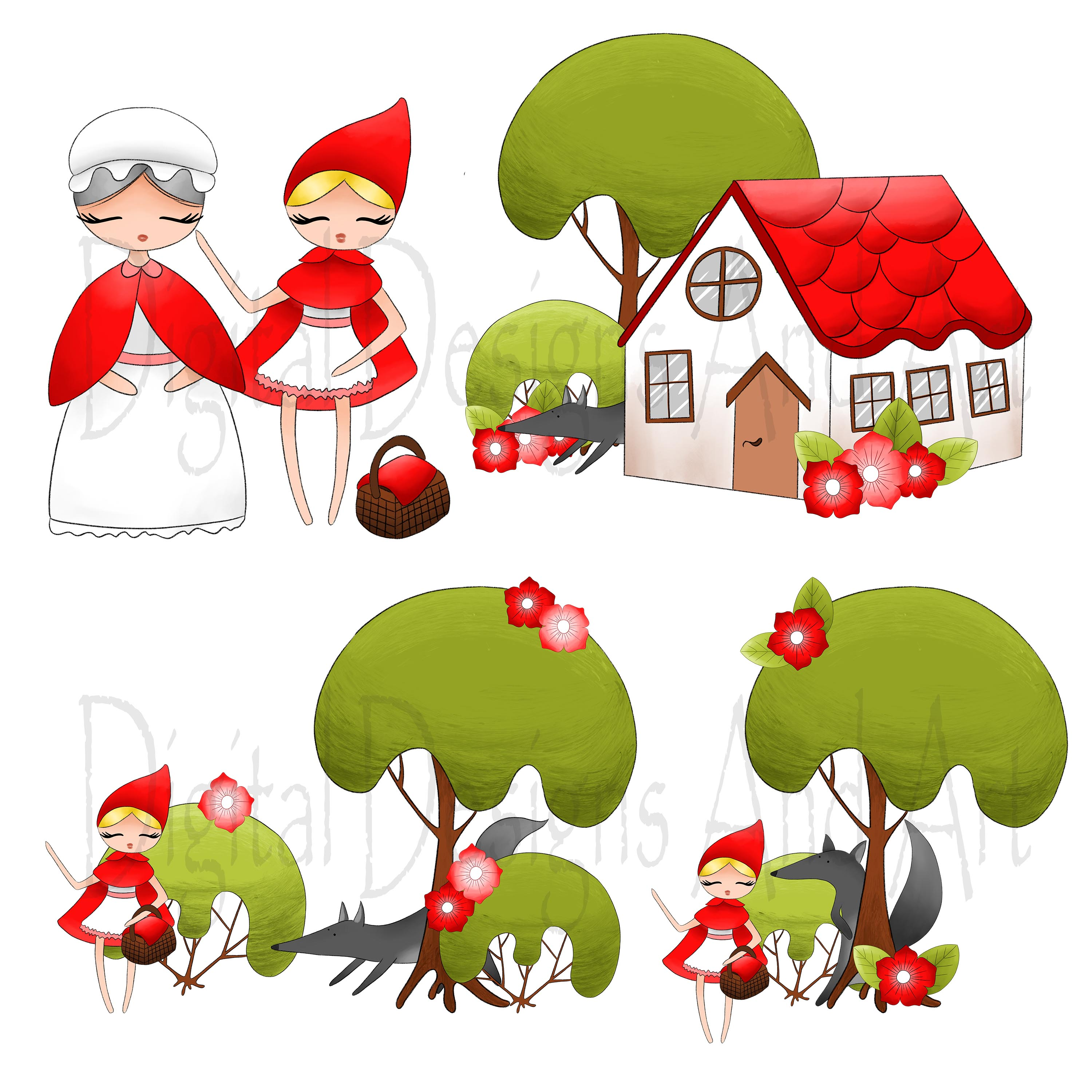 Little red riding hood clipart.