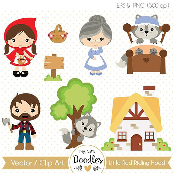 50% OFF Little Red Riding Hood vector, Wolf clipart.
