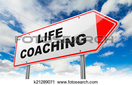 Clipart of Life Coaching Inscription on Red Road Sign. k21289071.