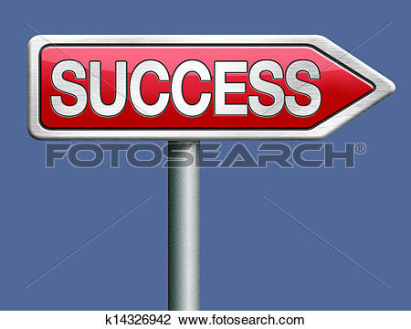 Clip Art of success red road sign arrow k14326942.