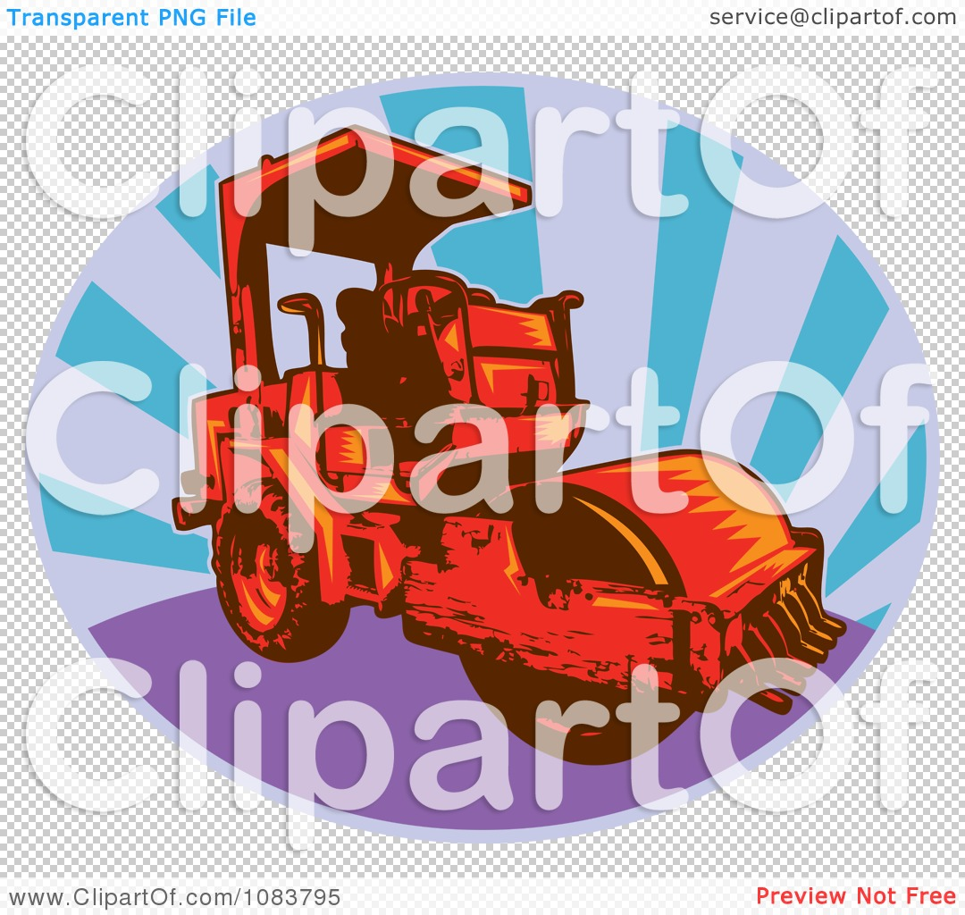 Clipart Red Road Roller Machine And Rays.