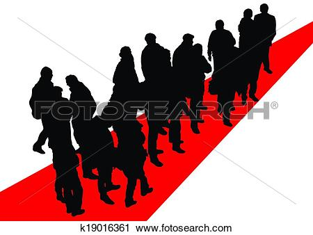 Clipart of People on red road k19016361.