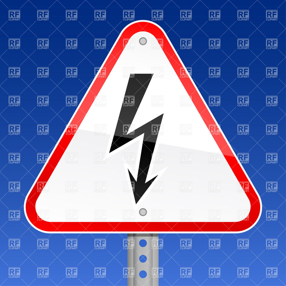 Red road sign with high voltage (lightning) symbol Vector Image.