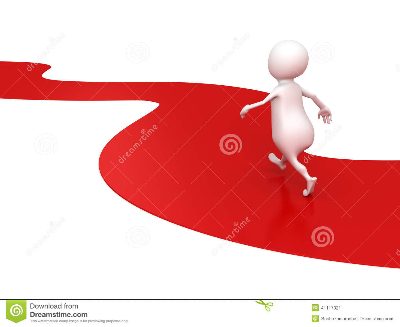 White 3d Person Walks Forward On Red Road Way Stock Illustration.