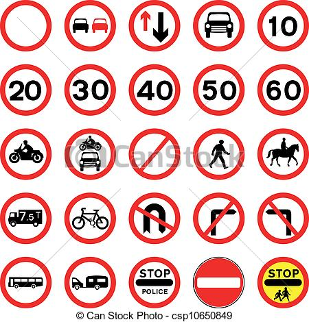 EPS Vector of Round Red Road Signs.