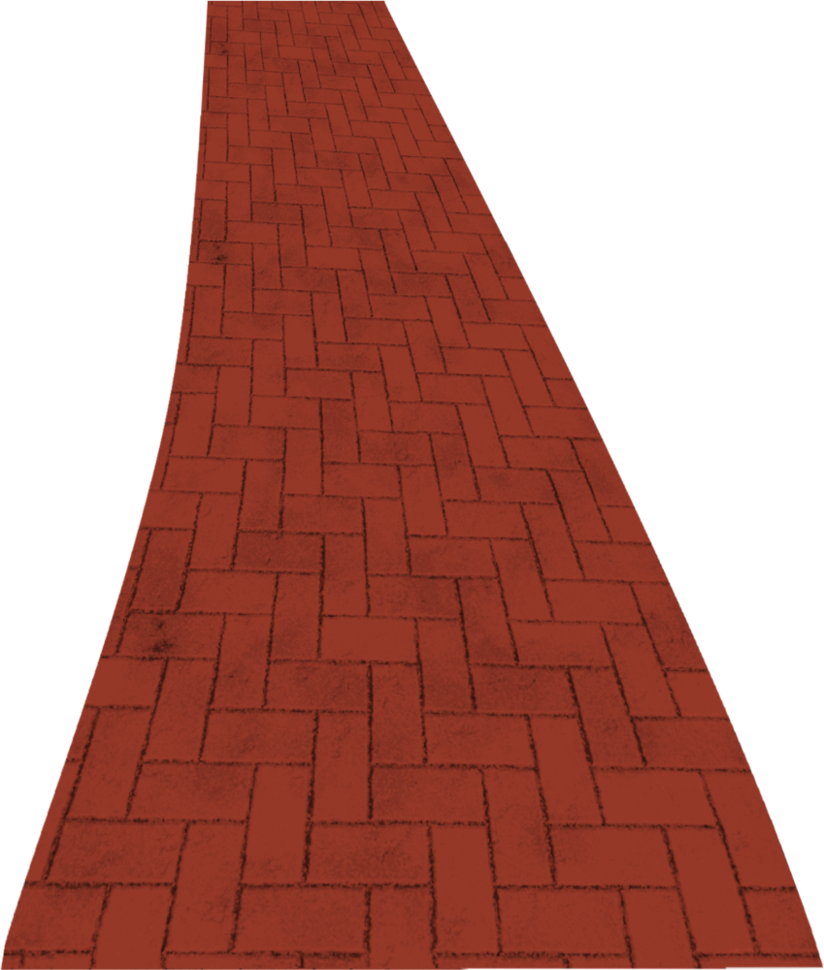 Red brick road clipart with clear background.