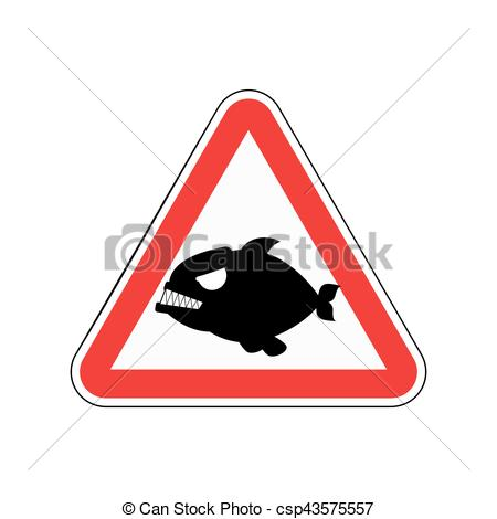 Clipart Vector of Attention piranha. Dangers of red road sign.
