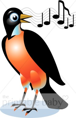 Singing Red Robin Clipart.