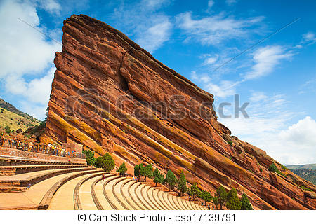 Stock Photographs of Famous Red Rocks Amphitheater in Denver.