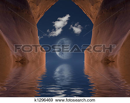 Stock Illustration of Red rock moon k1296469.