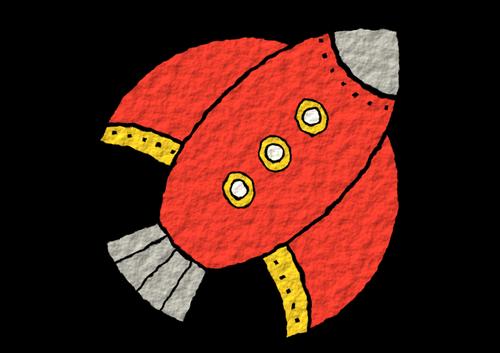Red rocket drawing.