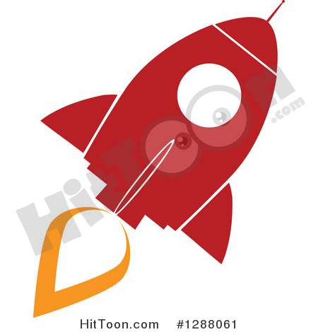 Rocket Clipart #1288061: Modern Flat Design of a Red and White.