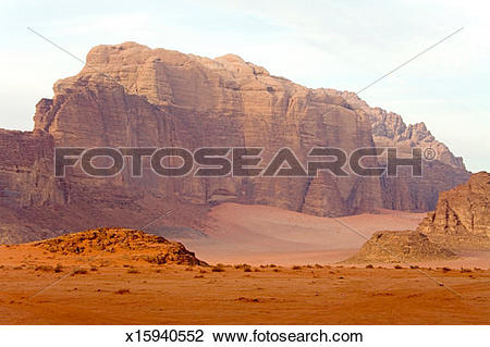 Stock Photo of Red Rocks Mountains in the Wadi Rum desert.