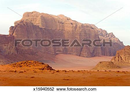 Stock Photo of Red Rocks Mountains in the Wadi Rum desert.