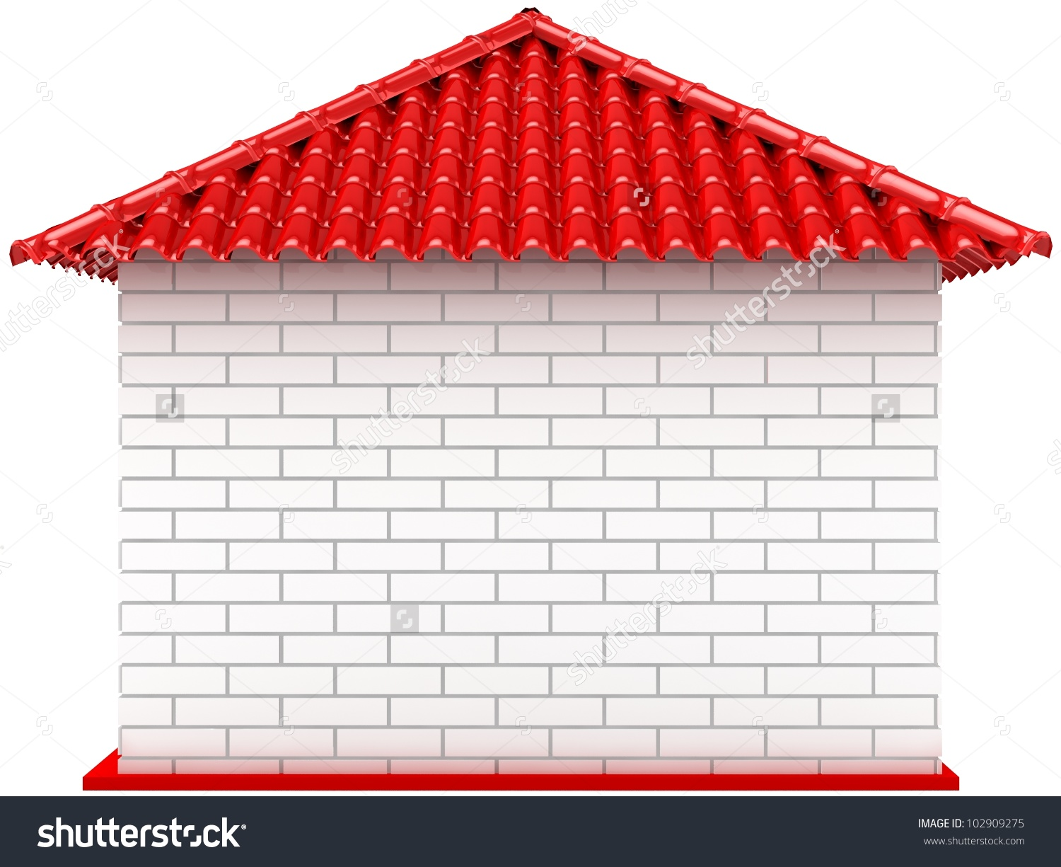 3d Small Blank House Red Roof Stock Illustration 102909275.